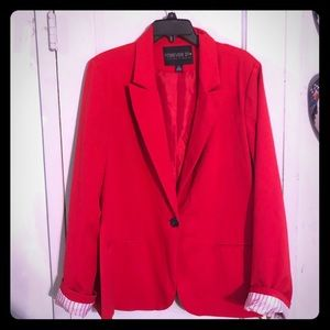 Forever 21 Red Lined Blazer Jacket Plus Size 2X
